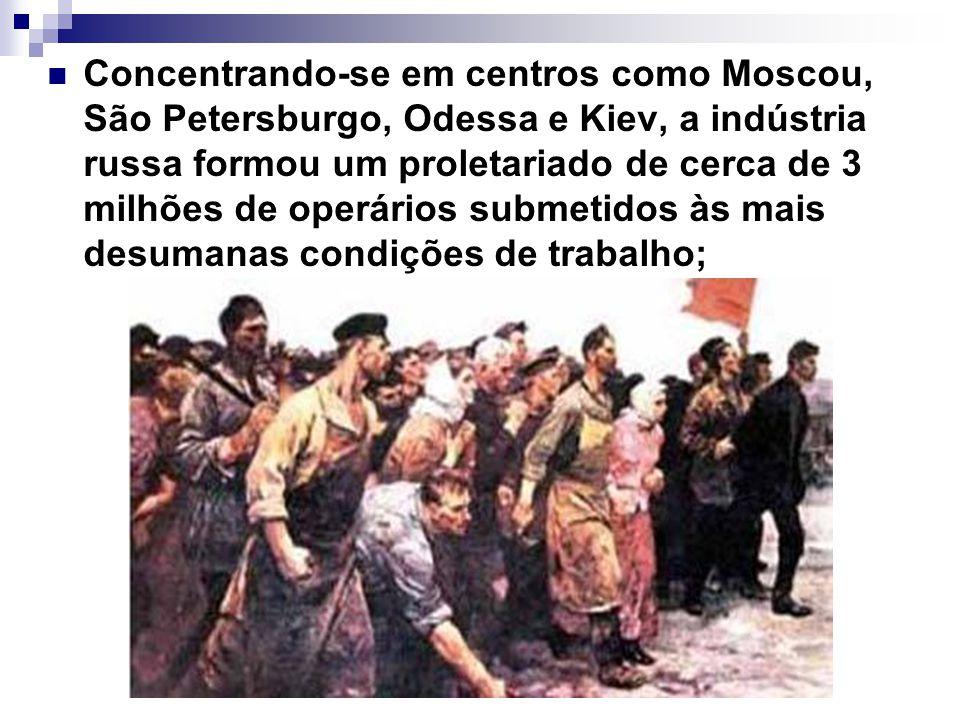 Concentrando-se em centros como Moscou, São Petersburgo, Odessa e Kiev, a indústria russa formou um proletariado de cerca de 3 milhões de operários su