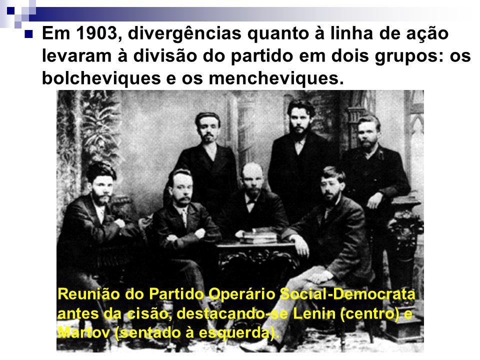 Em 1903, divergências quanto à linha de ação levaram à divisão do partido em dois grupos: os bolcheviques e os mencheviques. Reunião do Partido Operár