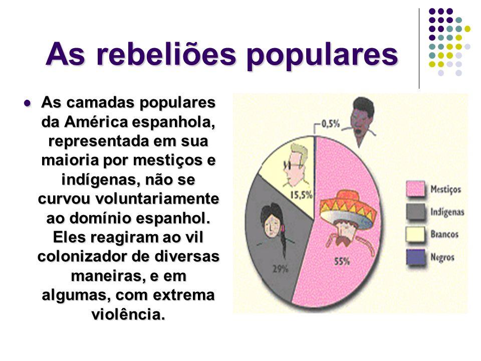 As rebeliões populares As camadas populares da América espanhola, representada em sua maioria por mestiços e indígenas, não se curvou voluntariamente ao domínio espanhol.