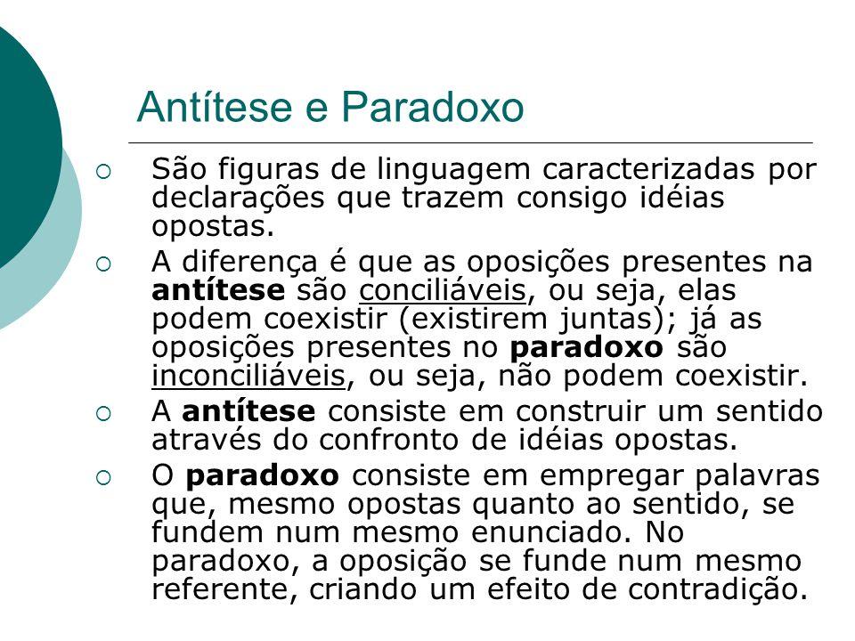 Antítese e Paradoxo São figuras de linguagem caracterizadas por declarações que trazem consigo idéias opostas. A diferença é que as oposições presente