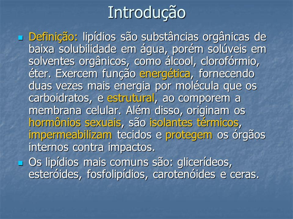 Introdução Definição: lipídios são substâncias orgânicas de baixa solubilidade em água, porém solúveis em solventes orgânicos, como álcool, clorofórmi