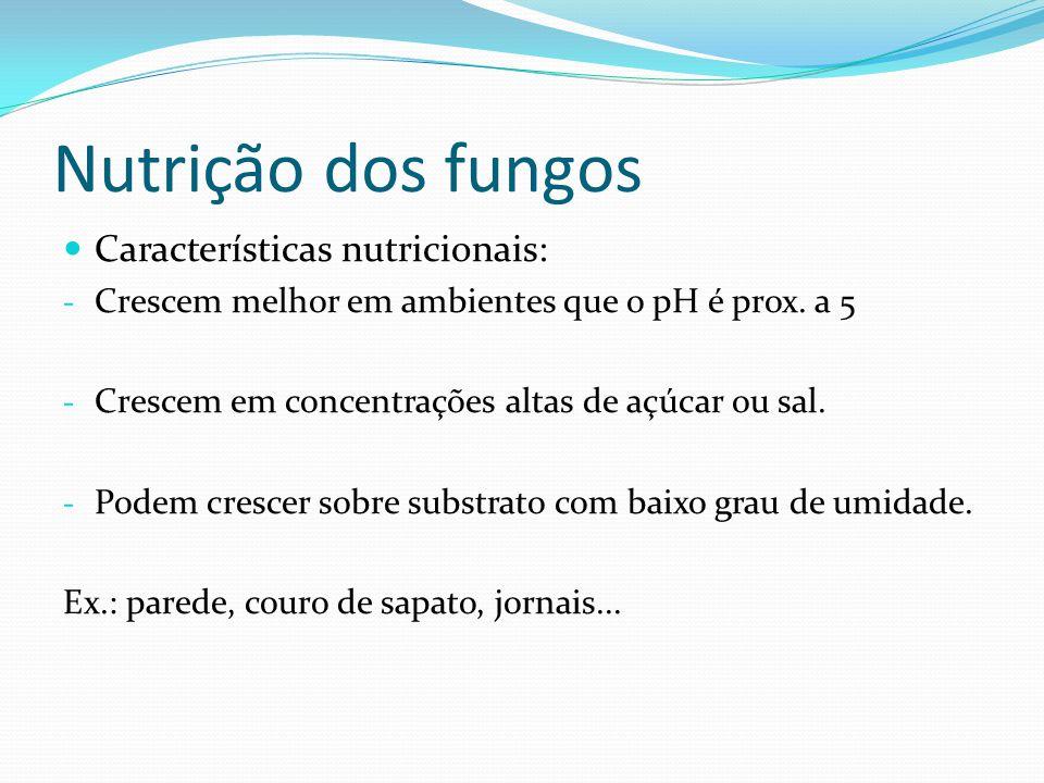 Nutrição dos fungos Características nutricionais: - Crescem melhor em ambientes que o pH é prox. a 5 - Crescem em concentrações altas de açúcar ou sal