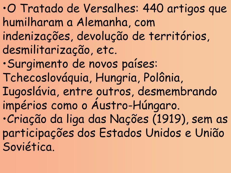 O Tratado de Versalhes: 440 artigos que humilharam a Alemanha, com indenizações, devolução de territórios, desmilitarização, etc. Surgimento de novos