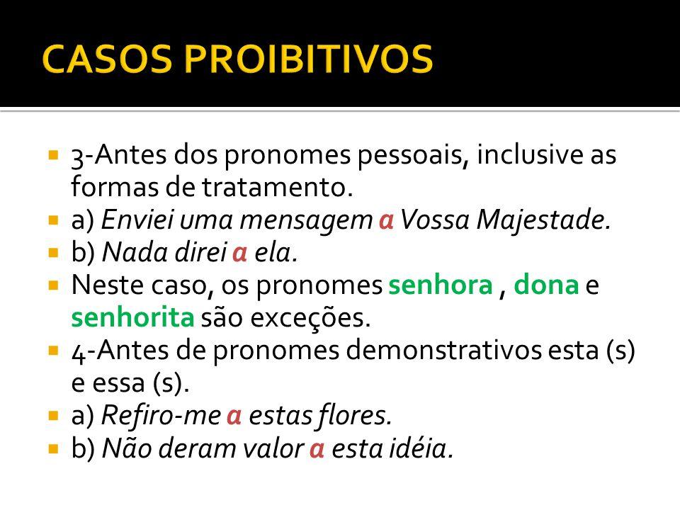 3-Antes dos pronomes pessoais, inclusive as formas de tratamento.