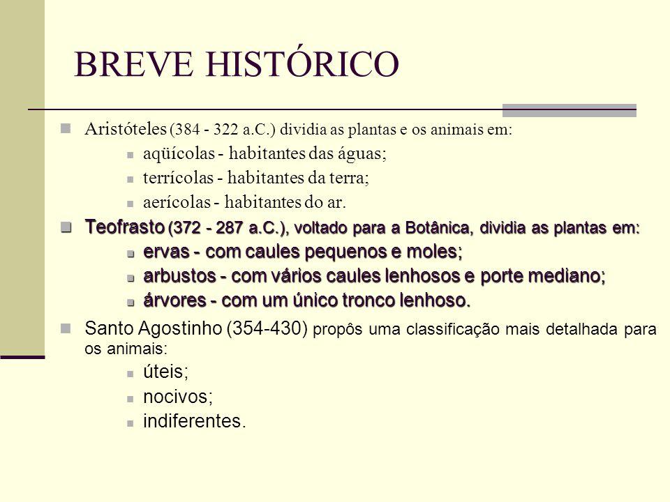 BREVE HISTÓRICO Aristóteles (384 - 322 a.C.) dividia as plantas e os animais em: aqüícolas - habitantes das águas; terrícolas - habitantes da terra; aerícolas - habitantes do ar.