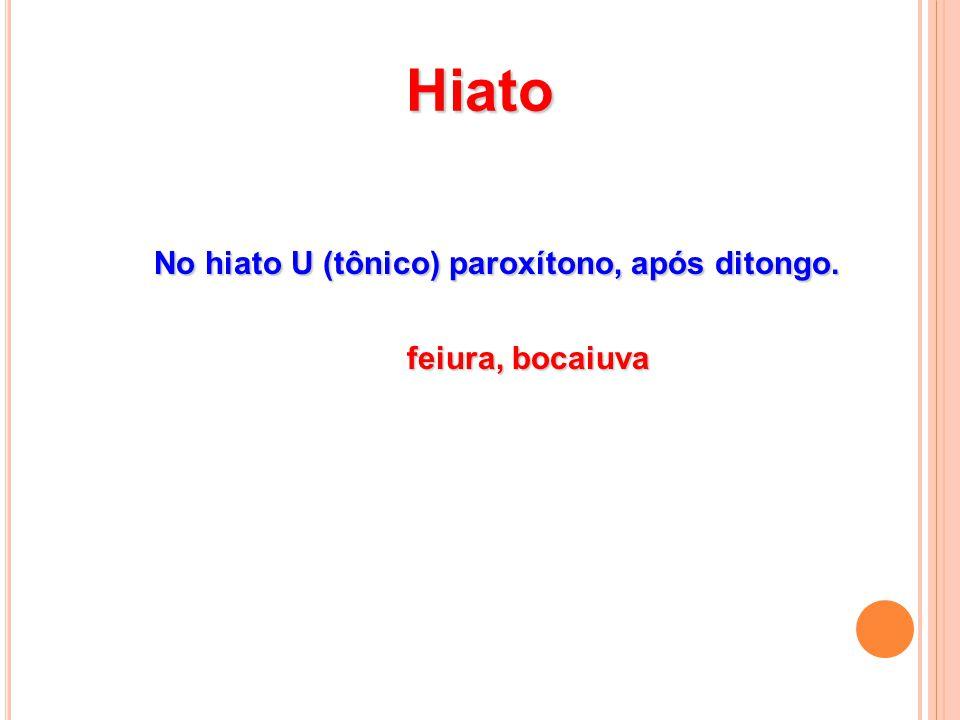 Hiato No hiato U (tônico) paroxítono, após ditongo. feiura, bocaiuva