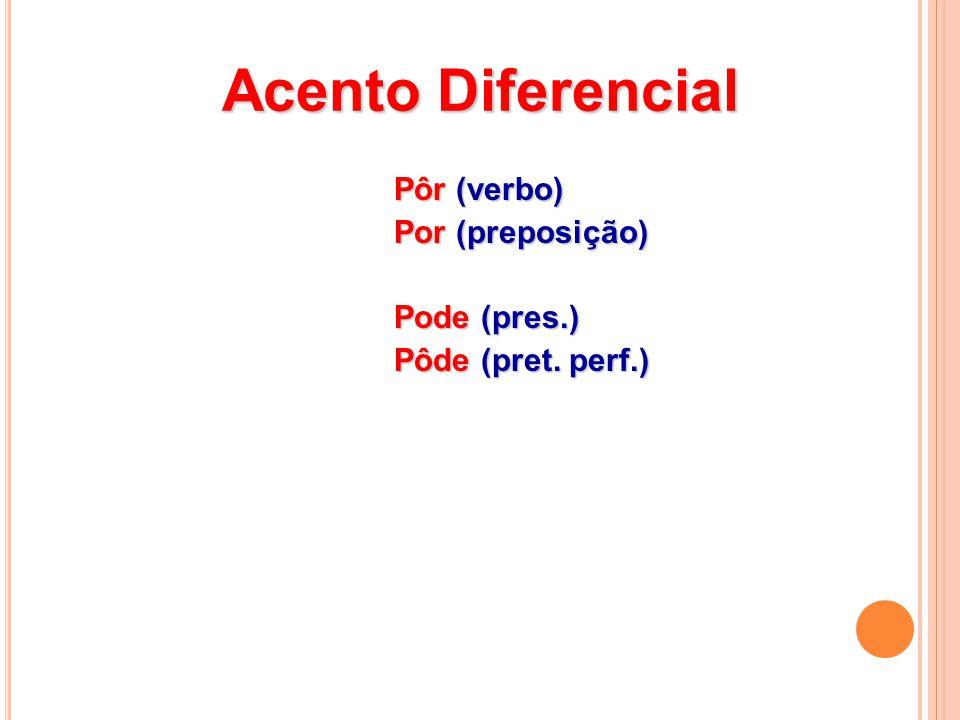Acento Diferencial Pôr (verbo) Pôr (verbo) Por (preposição) Por (preposição) Pode (pres.) Pode (pres.) Pôde (pret.
