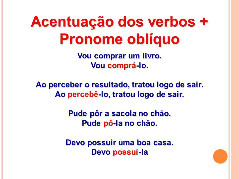 Acentuação dos verbos + Pronome oblíquo comprar um livro.
