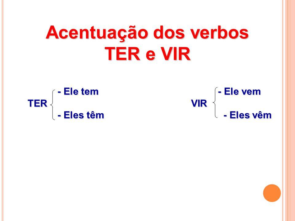 Acentuação dos verbos TER e VIR - Ele tem - Ele vem - Ele tem - Ele vem TER VIR TER VIR - Eles têm - Eles vêm - Eles têm - Eles vêm