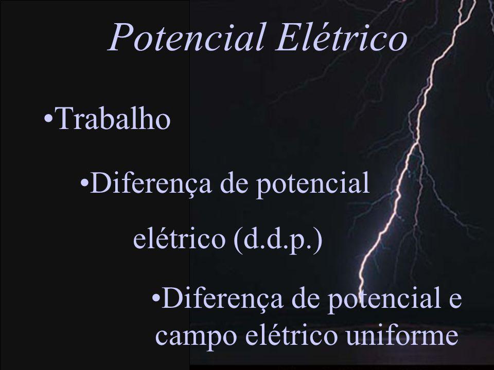 Diferença de potencial e campo elétrico uniforme Diferença de potencial elétrico (d.d.p.) Trabalho Potencial Elétrico