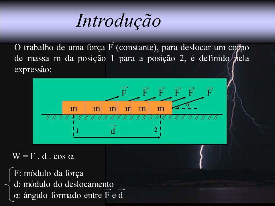 m α 1 2 F Introdução O trabalho de uma força F (constante), para deslocar um corpo de massa m da posição 1 para a posição 2, é definido pela expressão