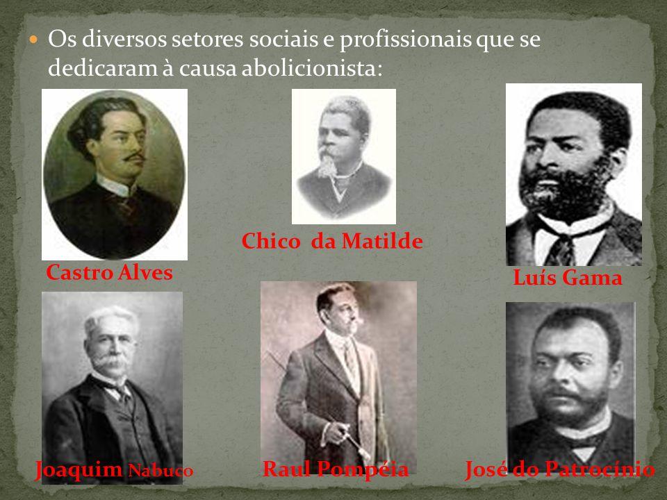 Os diversos setores sociais e profissionais que se dedicaram à causa abolicionista: Castro Alves Chico da Matilde Joaquim Nabuco Raul PompéiaJosé do P