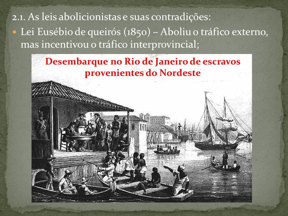 2.1. As leis abolicionistas e suas contradições: Lei Eusébio de queirós (1850) – Aboliu o tráfico externo, mas incentivou o tráfico interprovincial; D