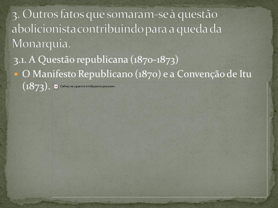 3.1. A Questão republicana (1870-1873) O Manifesto Republicano (1870) e a Convenção de Itu (1873).