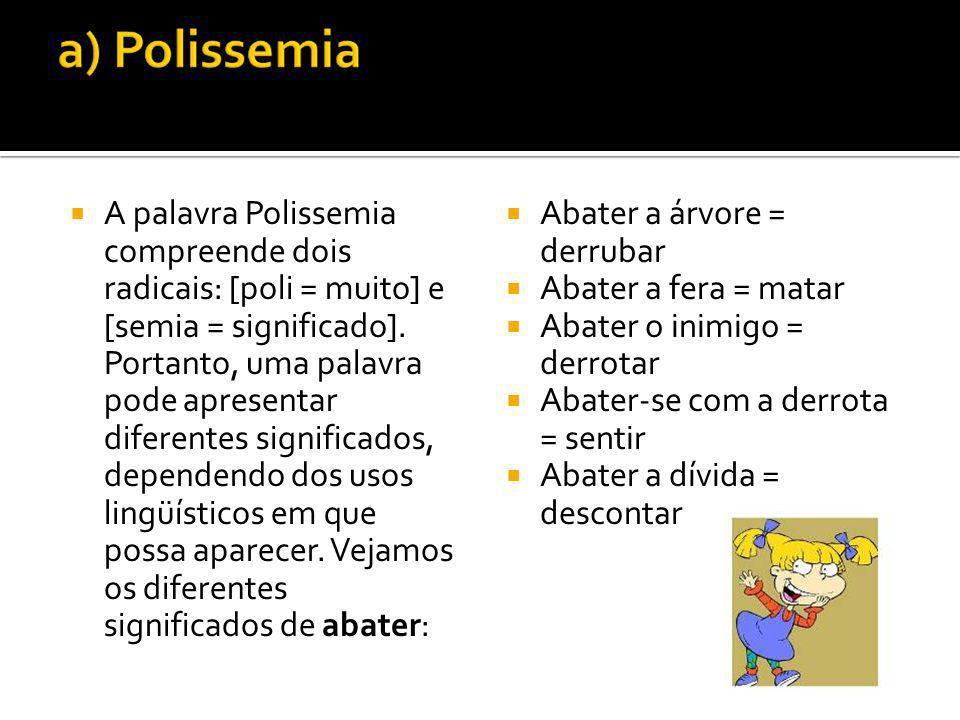 A palavra Polissemia compreende dois radicais: [poli = muito] e [semia = significado]. Portanto, uma palavra pode apresentar diferentes significados,
