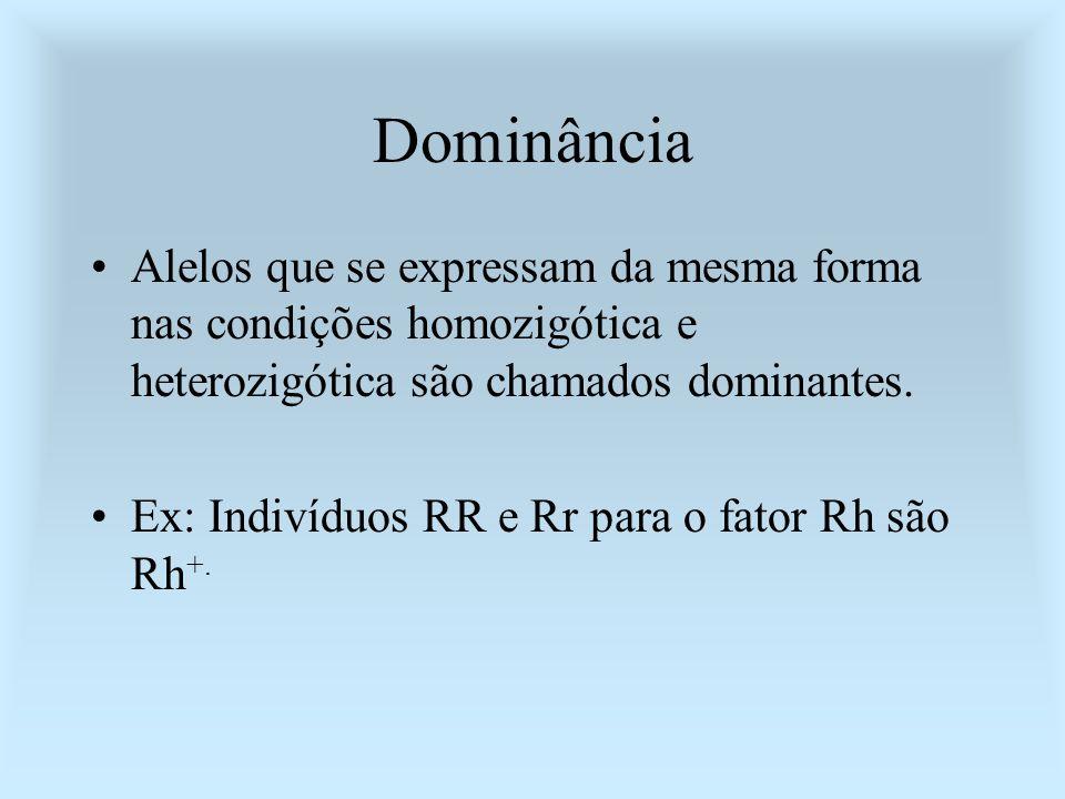 Dominância Alelos que se expressam da mesma forma nas condições homozigótica e heterozigótica são chamados dominantes. Ex: Indivíduos RR e Rr para o f