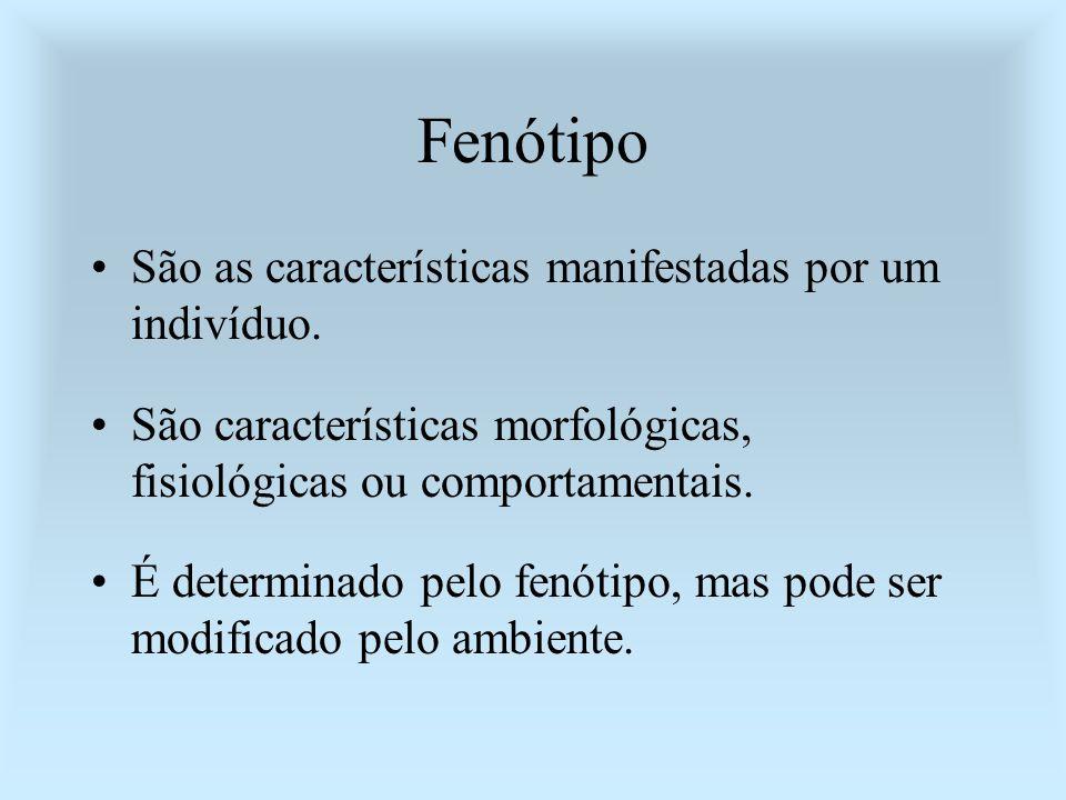 Fenótipo São as características manifestadas por um indivíduo. São características morfológicas, fisiológicas ou comportamentais. É determinado pelo f