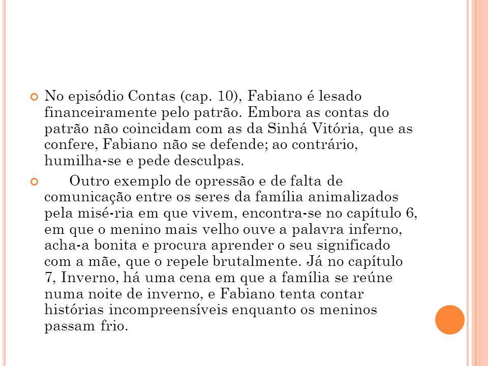 No episódio Contas (cap. 10), Fabiano é lesado financeiramente pelo patrão. Embora as contas do patrão não coincidam com as da Sinhá Vitória, que as c