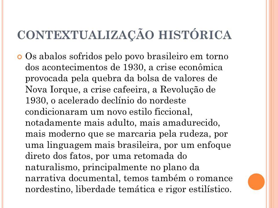 CONTEXTUALIZAÇÃO HISTÓRICA Os abalos sofridos pelo povo brasileiro em torno dos acontecimentos de 1930, a crise econômica provocada pela quebra da bol