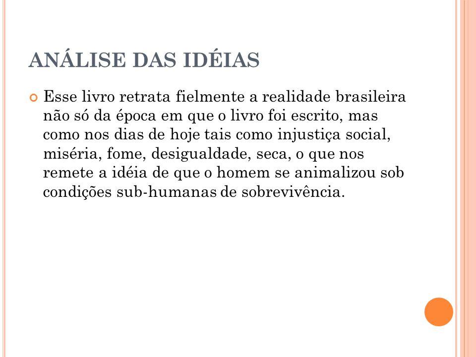 ANÁLISE DAS IDÉIAS Esse livro retrata fielmente a realidade brasileira não só da época em que o livro foi escrito, mas como nos dias de hoje tais como