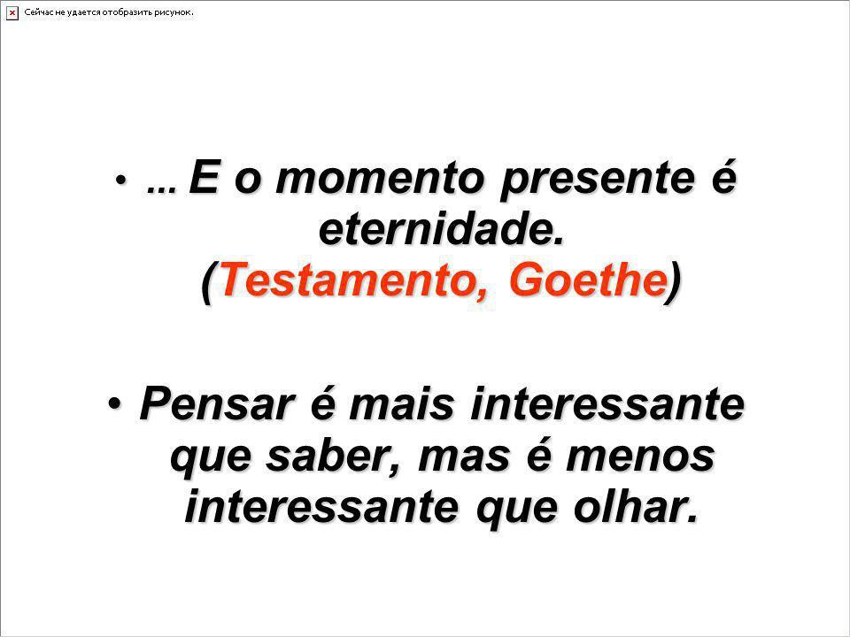 ... E o momento presente é eternidade. (Testamento, Goethe)... E o momento presente é eternidade. (Testamento, Goethe) Pensar é mais interessante que