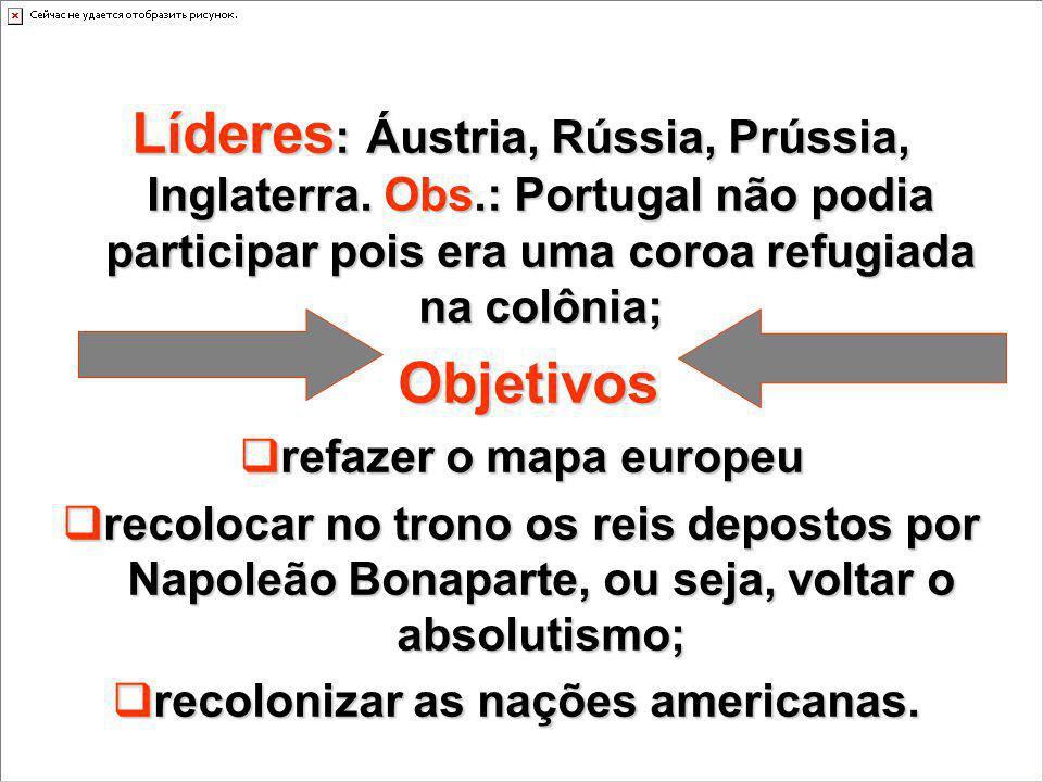 Líderes : Áustria, Rússia, Prússia, Inglaterra. Obs.: Portugal não podia participar pois era uma coroa refugiada na colônia; Objetivos Objetivos refaz