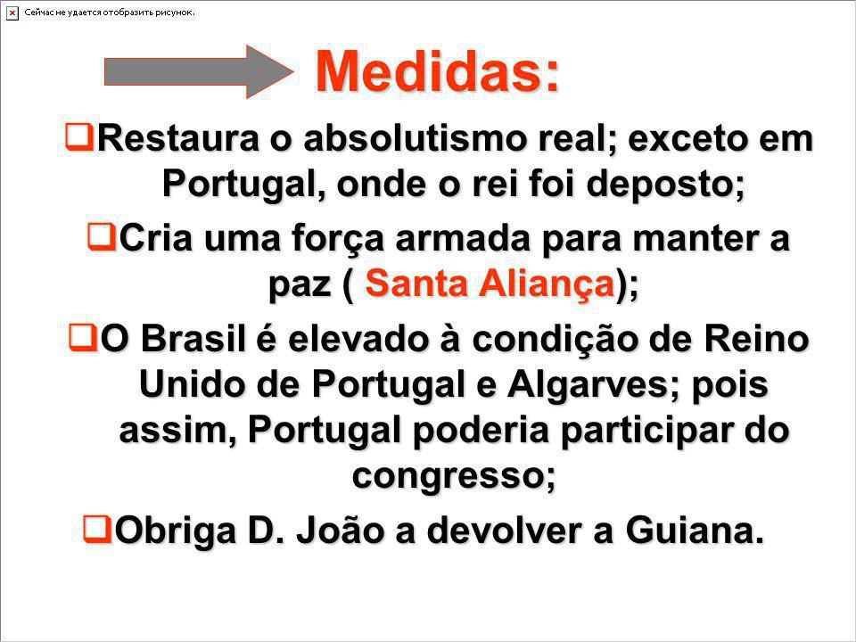 Medidas: Restaura o absolutismo real; exceto em Portugal, onde o rei foi deposto; Restaura o absolutismo real; exceto em Portugal, onde o rei foi depo