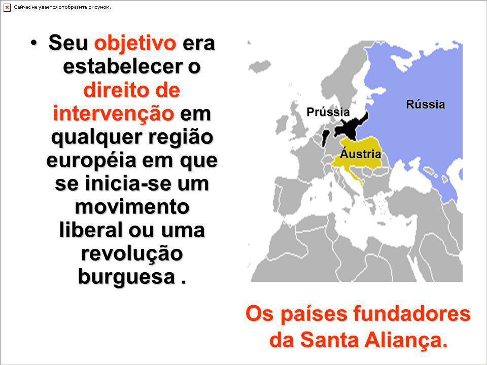 Seu objetivo era estabelecer o direito de intervenção em qualquer região européia em que se inicia-se um movimento liberal ou uma revolução burguesa.S