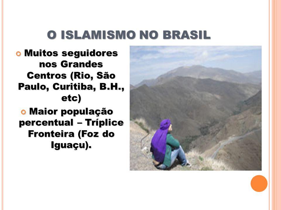 O ISLAMISMO NO BRASIL Muitos seguidores nos Grandes Centros (Rio, São Paulo, Curitiba, B.H., etc) Muitos seguidores nos Grandes Centros (Rio, São Paul