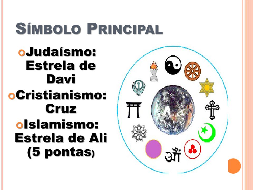 S ÍMBOLO P RINCIPAL Judaísmo: Estrela de Davi Judaísmo: Estrela de Davi Cristianismo: Cruz Cristianismo: Cruz Islamismo: Estrela de Ali (5 pontas ) Islamismo: Estrela de Ali (5 pontas )