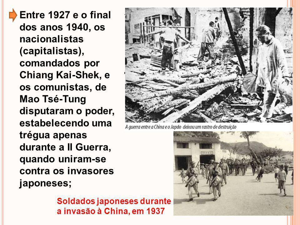 Entre 1927 e o final dos anos 1940, os nacionalistas (capitalistas), comandados por Chiang Kai-Shek, e os comunistas, de Mao Tsé-Tung disputaram o pod