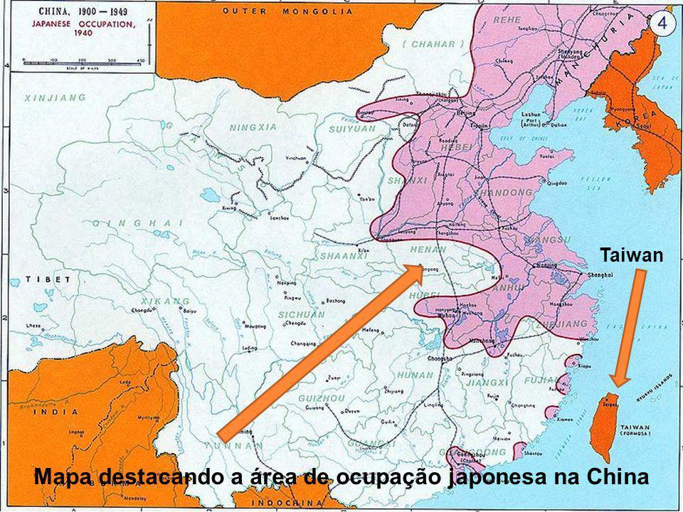 Mapa destacando a área de ocupação japonesa na China Taiwan