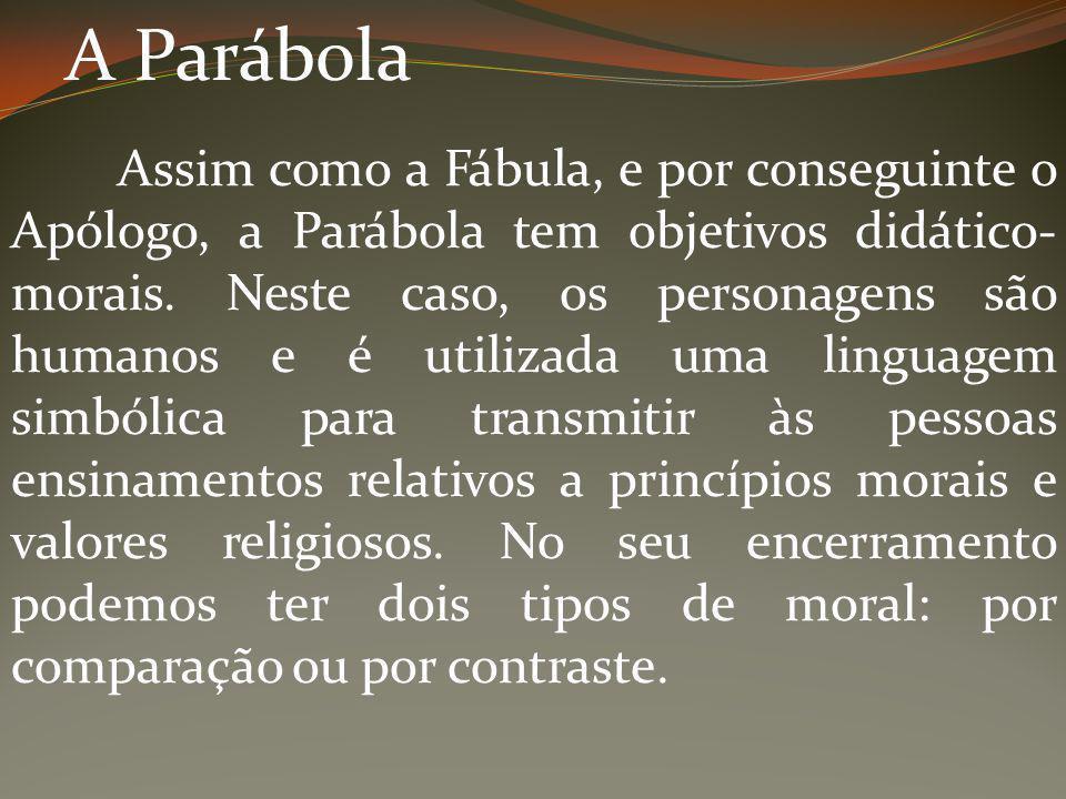 A Parábola Assim como a Fábula, e por conseguinte o Apólogo, a Parábola tem objetivos didático- morais. Neste caso, os personagens são humanos e é uti