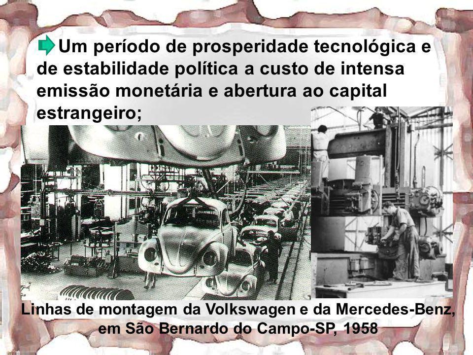 Um período de prosperidade tecnológica e de estabilidade política a custo de intensa emissão monetária e abertura ao capital estrangeiro; Linhas de mo