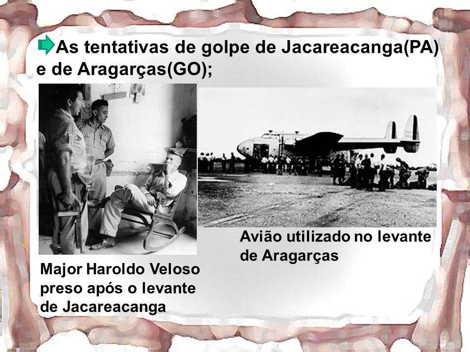 As tentativas de golpe de Jacareacanga(PA) e de Aragarças(GO); Major Haroldo Veloso preso após o levante de Jacareacanga Avião utilizado no levante de