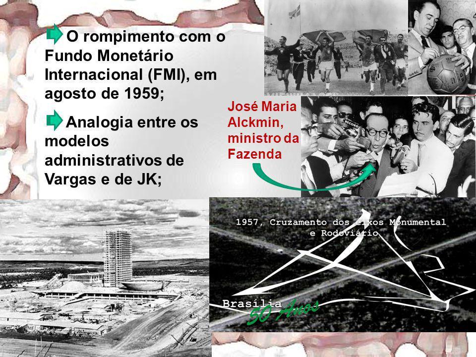 O rompimento com o Fundo Monetário Internacional (FMI), em agosto de 1959; Analogia entre os modelos administrativos de Vargas e de JK; José Maria Alc