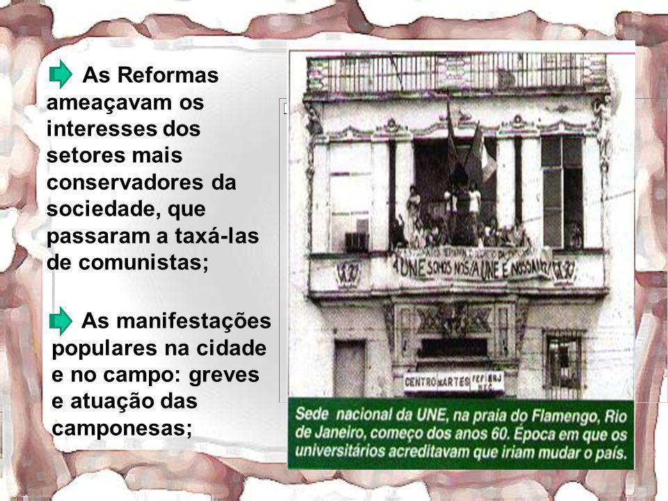 As Reformas ameaçavam os interesses dos setores mais conservadores da sociedade, que passaram a taxá-las de comunistas; As manifestações populares na