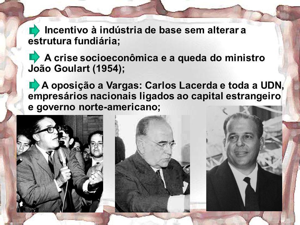 Incentivo à indústria de base sem alterar a estrutura fundiária; A crise socioeconômica e a queda do ministro João Goulart (1954); A oposição a Vargas