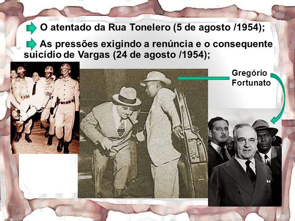 O atentado da Rua Tonelero (5 de agosto /1954); As pressões exigindo a renúncia e o consequente suicídio de Vargas (24 de agosto /1954); Gregório Fort