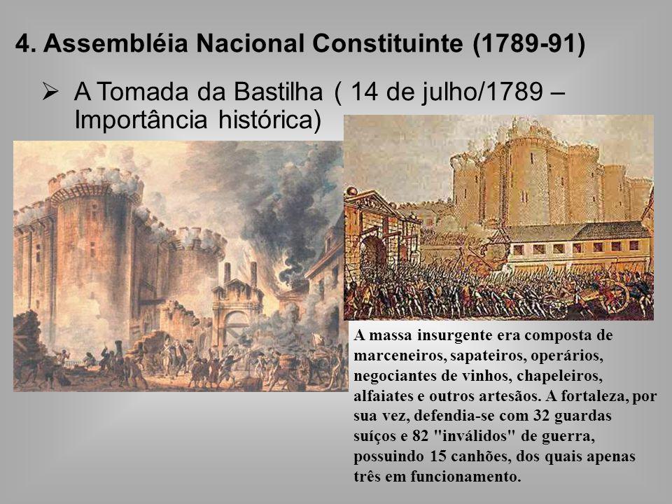 4. Assembléia Nacional Constituinte (1789-91) A Tomada da Bastilha ( 14 de julho/1789 – Importância histórica) A massa insurgente era composta de marc