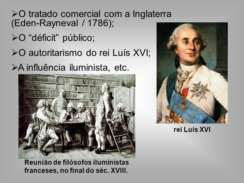 O tratado comercial com a Inglaterra (Eden-Rayneval / 1786); O déficit público; O autoritarismo do rei Luís XVI; A influência iluminista, etc.