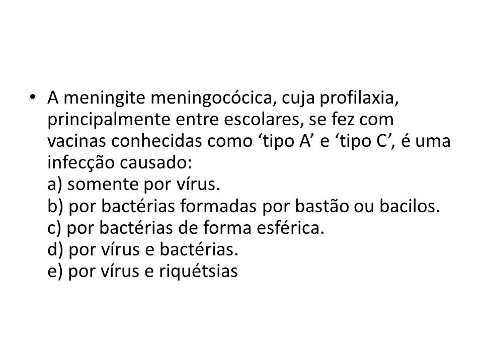A meningite meningocócica, cuja profilaxia, principalmente entre escolares, se fez com vacinas conhecidas como tipo A e tipo C, é uma infecção causado