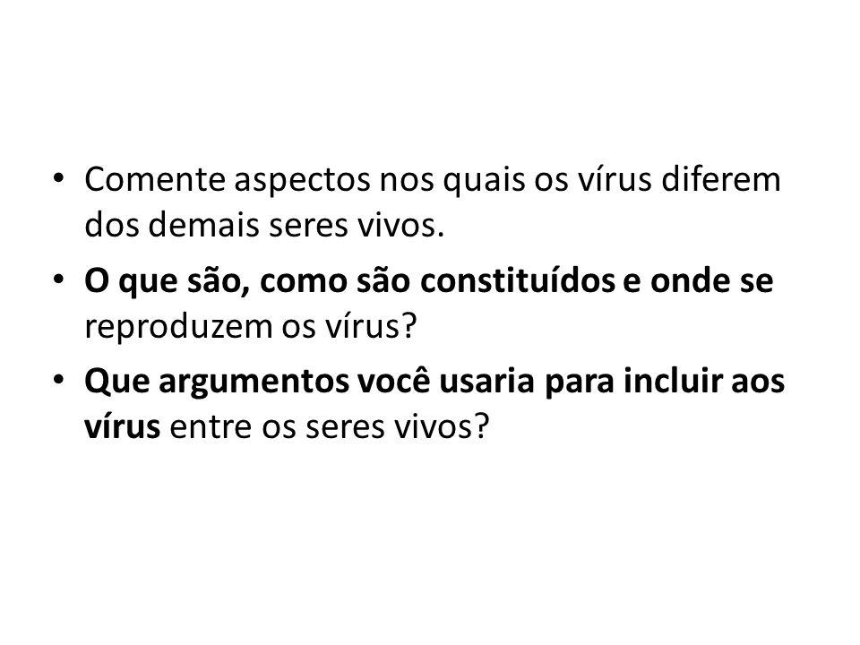 Assinale V (verdadeiro) ou F (falso), para as seguintes afirmativas: a) ( ) Todos os vírus apresentam DNA ou RNA.