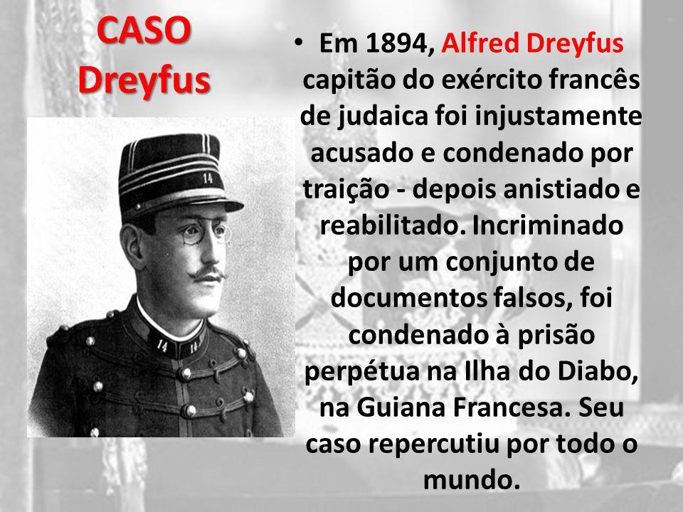 CASO Dreyfus Em 1894, Alfred Dreyfus capitão do exército francês de judaica foi injustamente acusado e condenado por traição - depois anistiado e reab