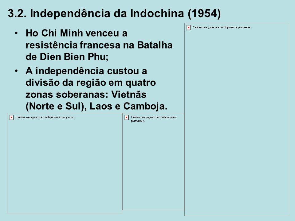 Ho Chi Minh venceu a resistência francesa na Batalha de Dien Bien Phu; A independência custou a divisão da região em quatro zonas soberanas: Vietnãs (