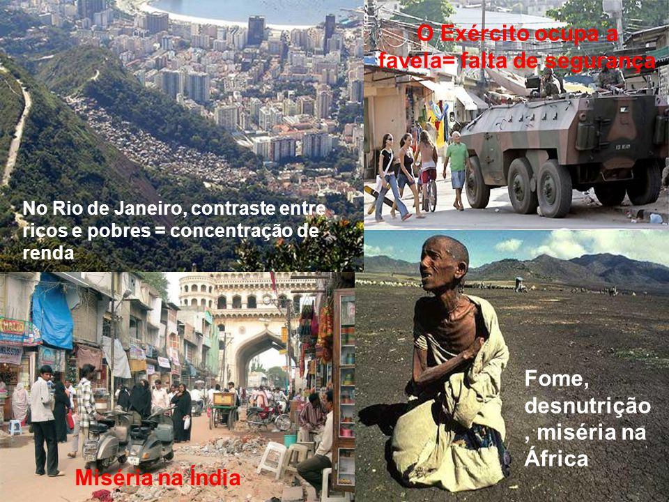 No Rio de Janeiro, contraste entre ricos e pobres = concentração de renda O Exército ocupa a favela= falta de segurança Fome, desnutrição, miséria na