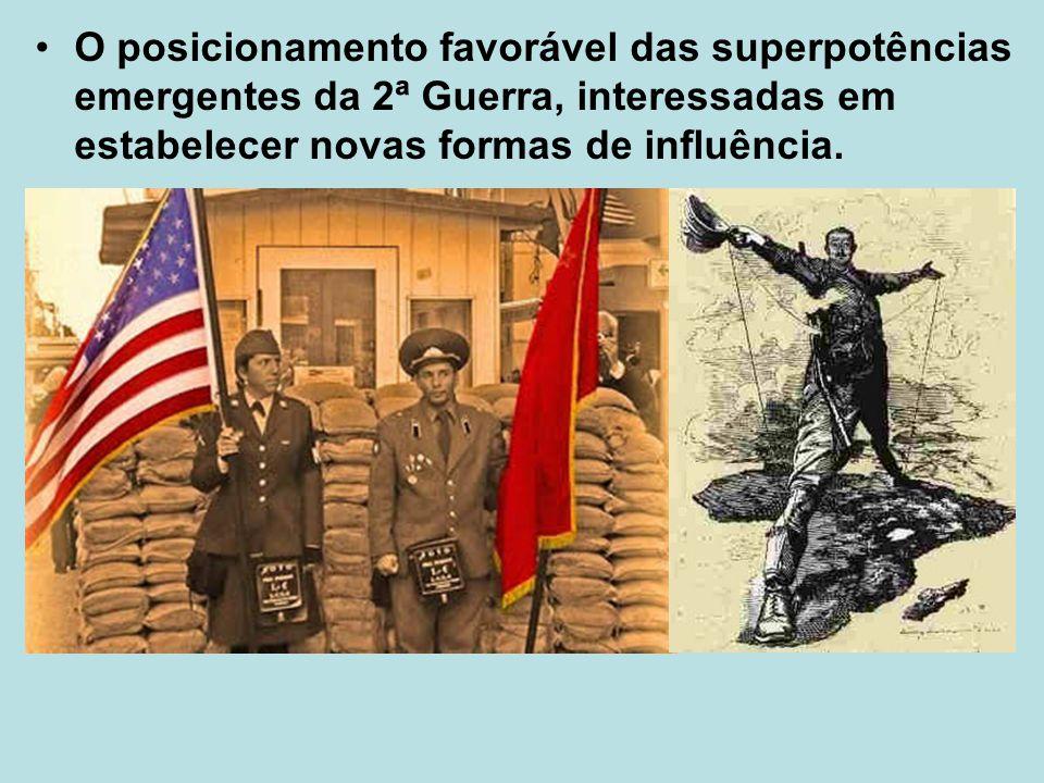 O posicionamento favorável das superpotências emergentes da 2ª Guerra, interessadas em estabelecer novas formas de influência.