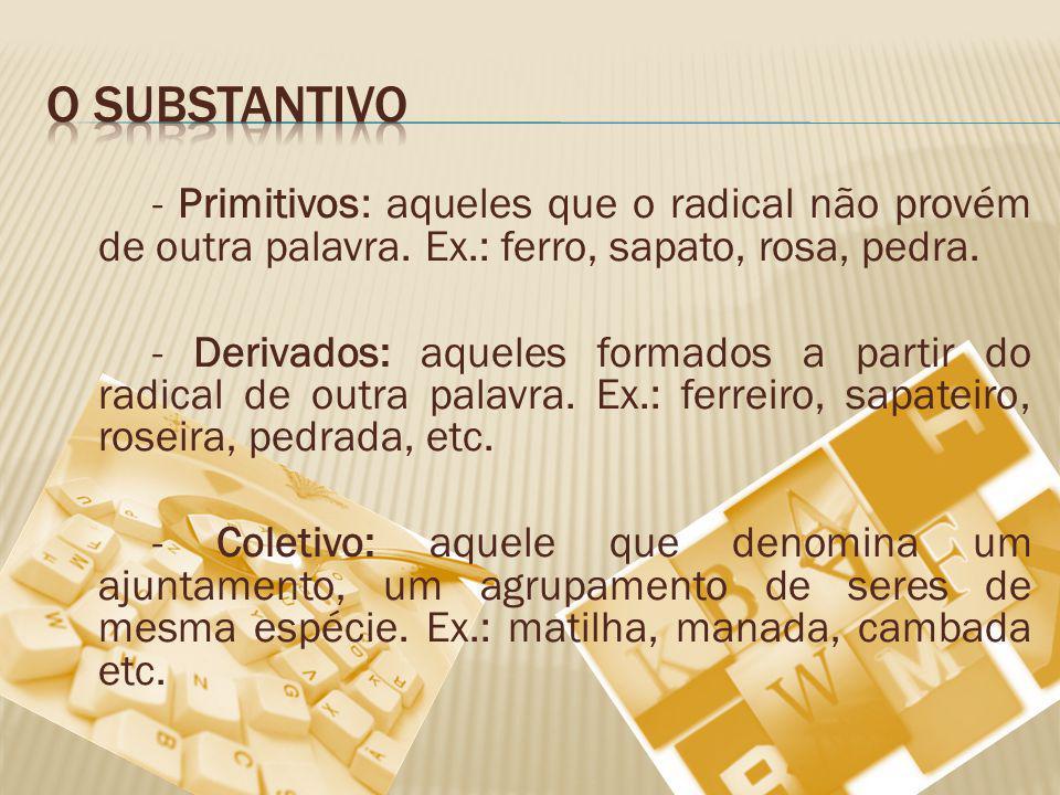 - Primitivos: aqueles que o radical não provém de outra palavra.