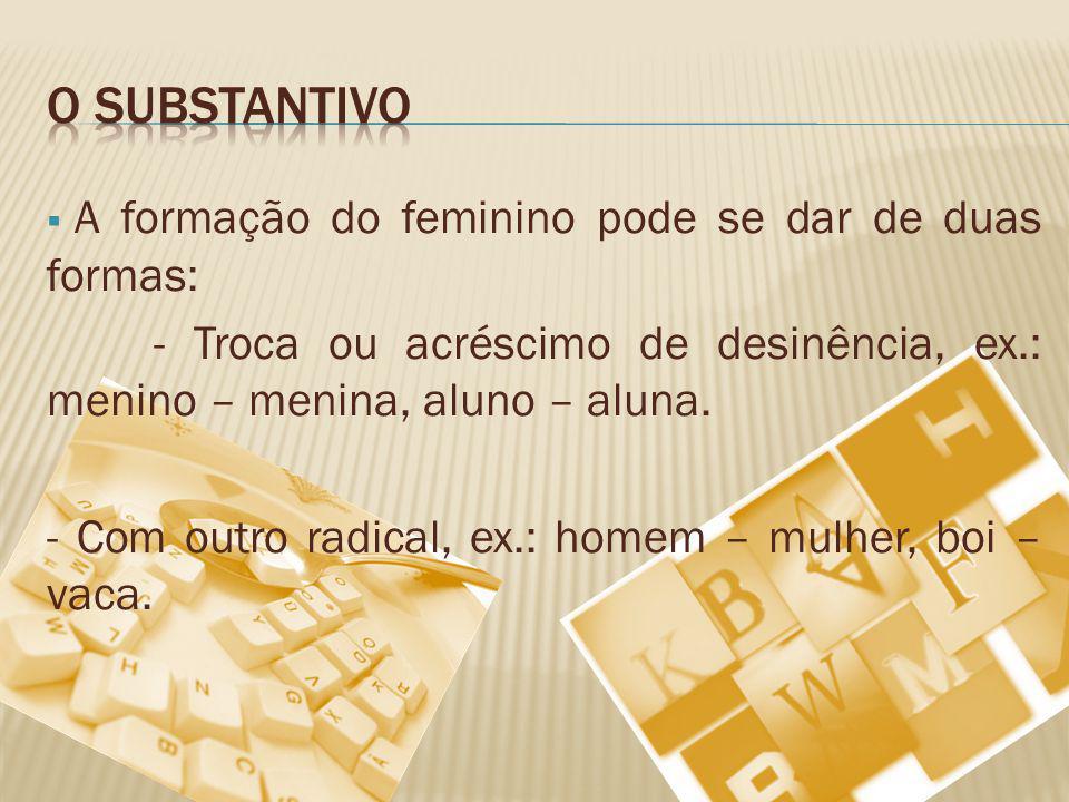 A formação do feminino pode se dar de duas formas: - Troca ou acréscimo de desinência, ex.: menino – menina, aluno – aluna. - Com outro radical, ex.: