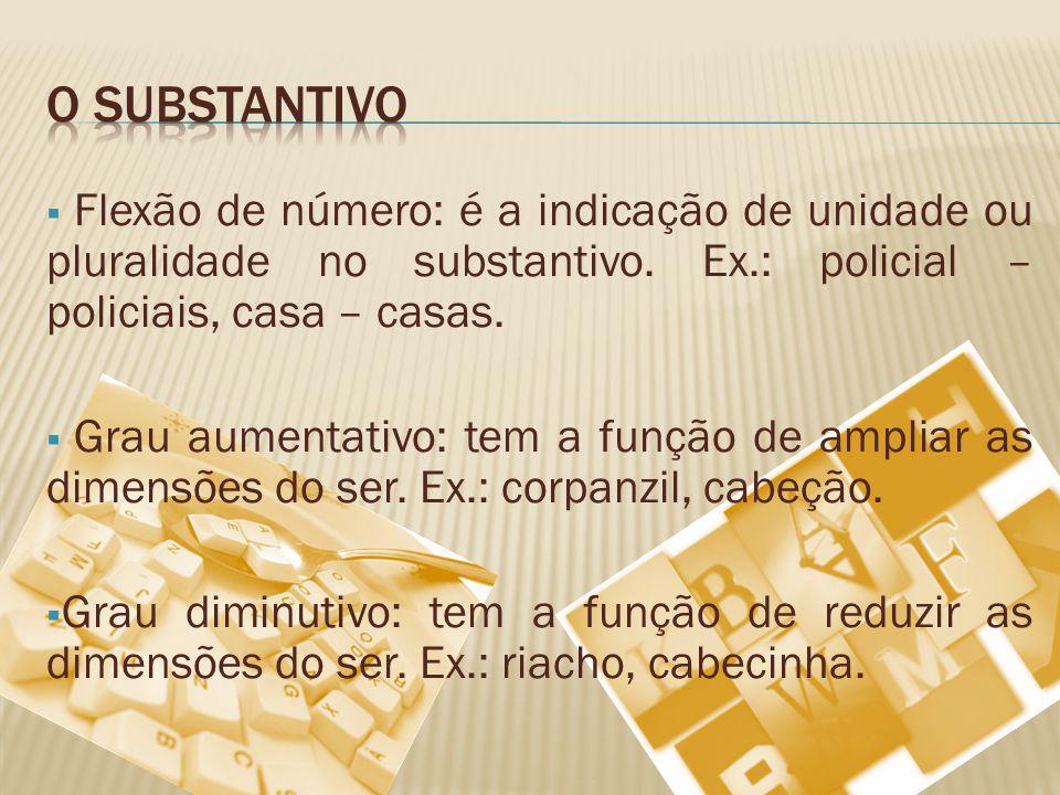 Flexão de número: é a indicação de unidade ou pluralidade no substantivo. Ex.: policial – policiais, casa – casas. Grau aumentativo: tem a função de a